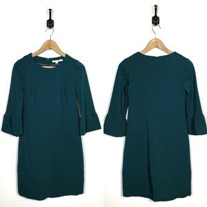 Boden 4P Lavinia Ponte Dress Green Flared Sleeves